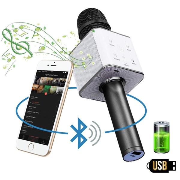 Q7 Wireless Portable Handheld Singing Machine Condenser Microphones Mic And Bluetooth Speaker Audio Recording