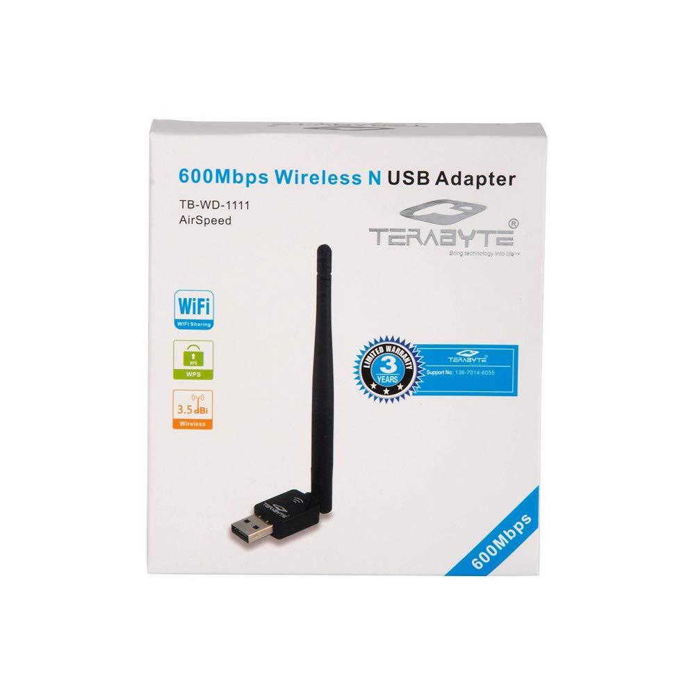 Maasarent 600 Mbps Mini Wireless USB WiFi Receiver Adapter Dongle for PC, Desktop and Laptops External Antenna  Black