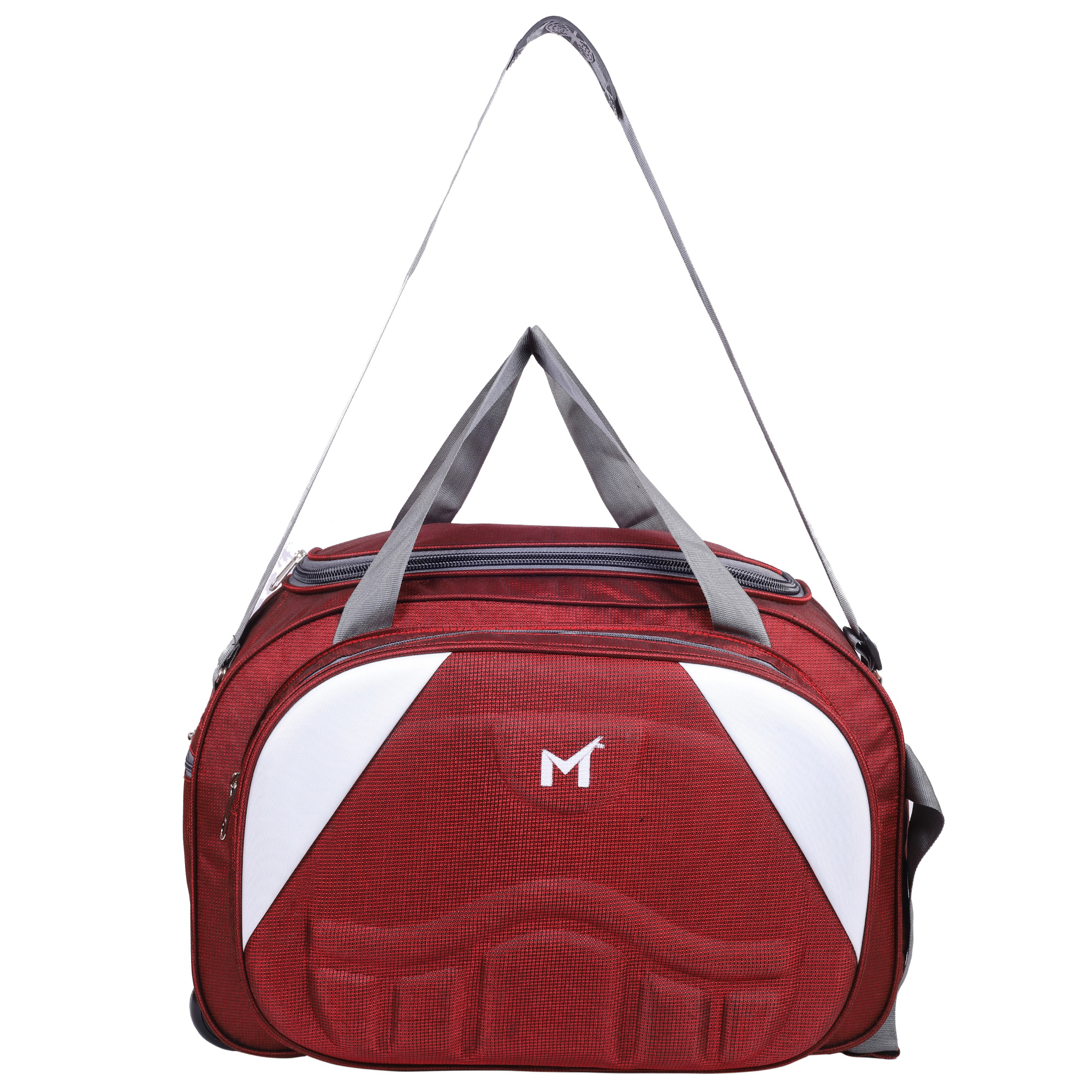 SMS BAG HOUSE  Expandable  Unisex Lightweight 55 litres Travel Duffel Bag with Two Wheels   Red