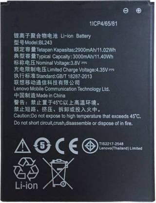 ClickAway Mobile Battery For Lenovo Lemon K3 Note K50 T5 Lenovo A7000   2900 mAh