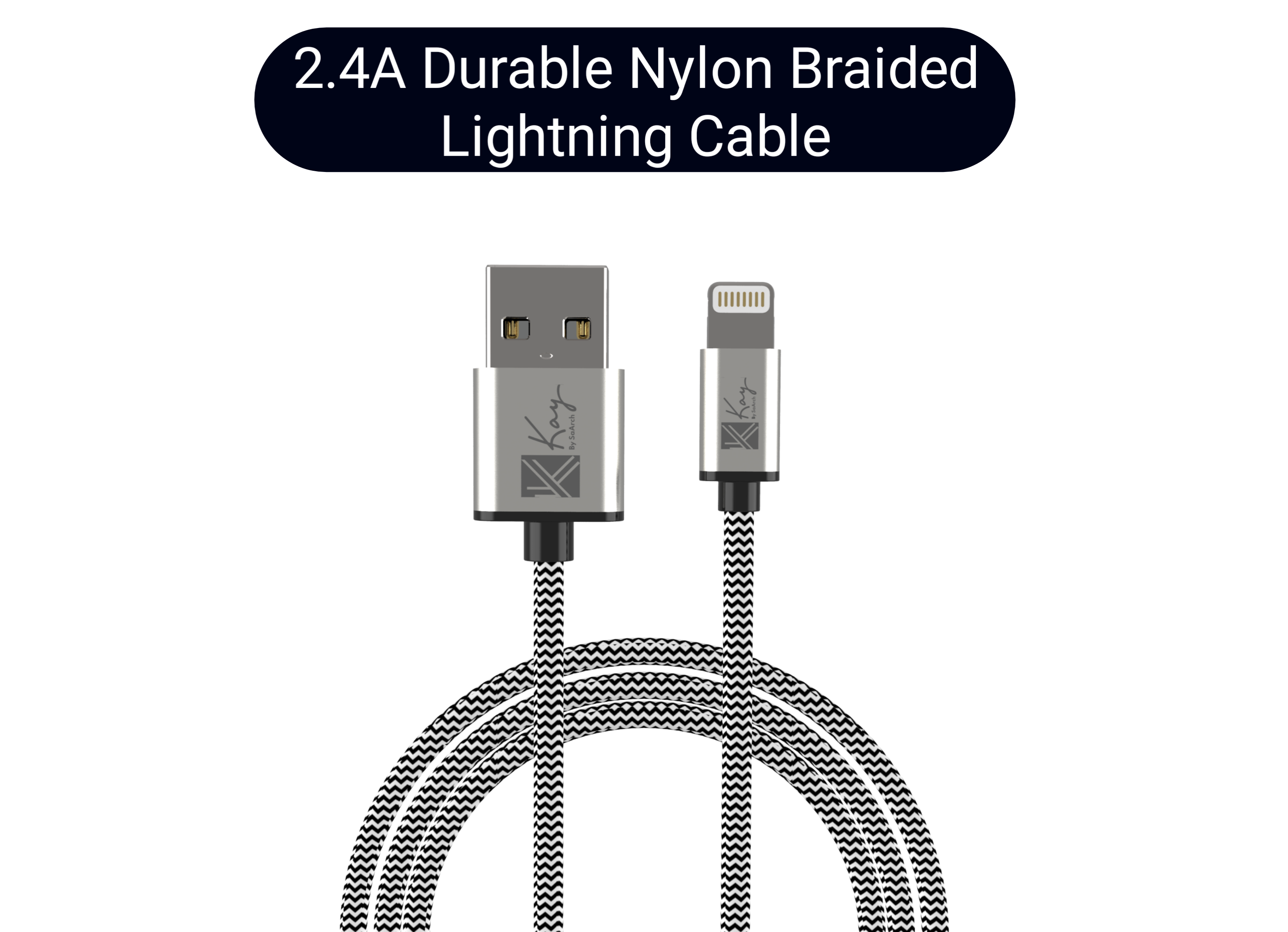 Kay By SaArch Nylon Braided Fast Charge Sync Lightning USB Cable