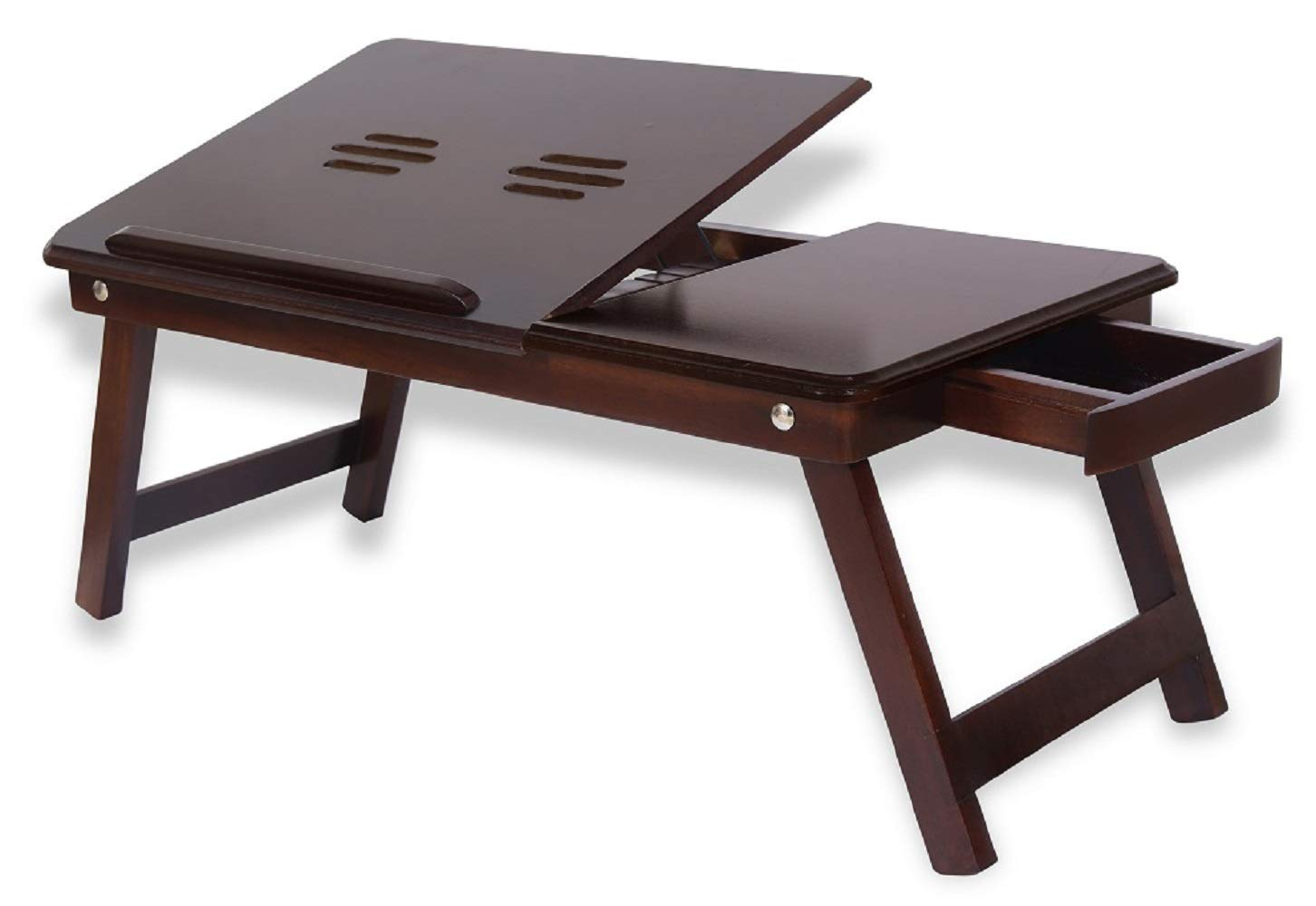 Ghar Kraft Wooden Adjustable Foldable Multi Function Portable Laptop Table/Study Table  Brown  Pack of 1