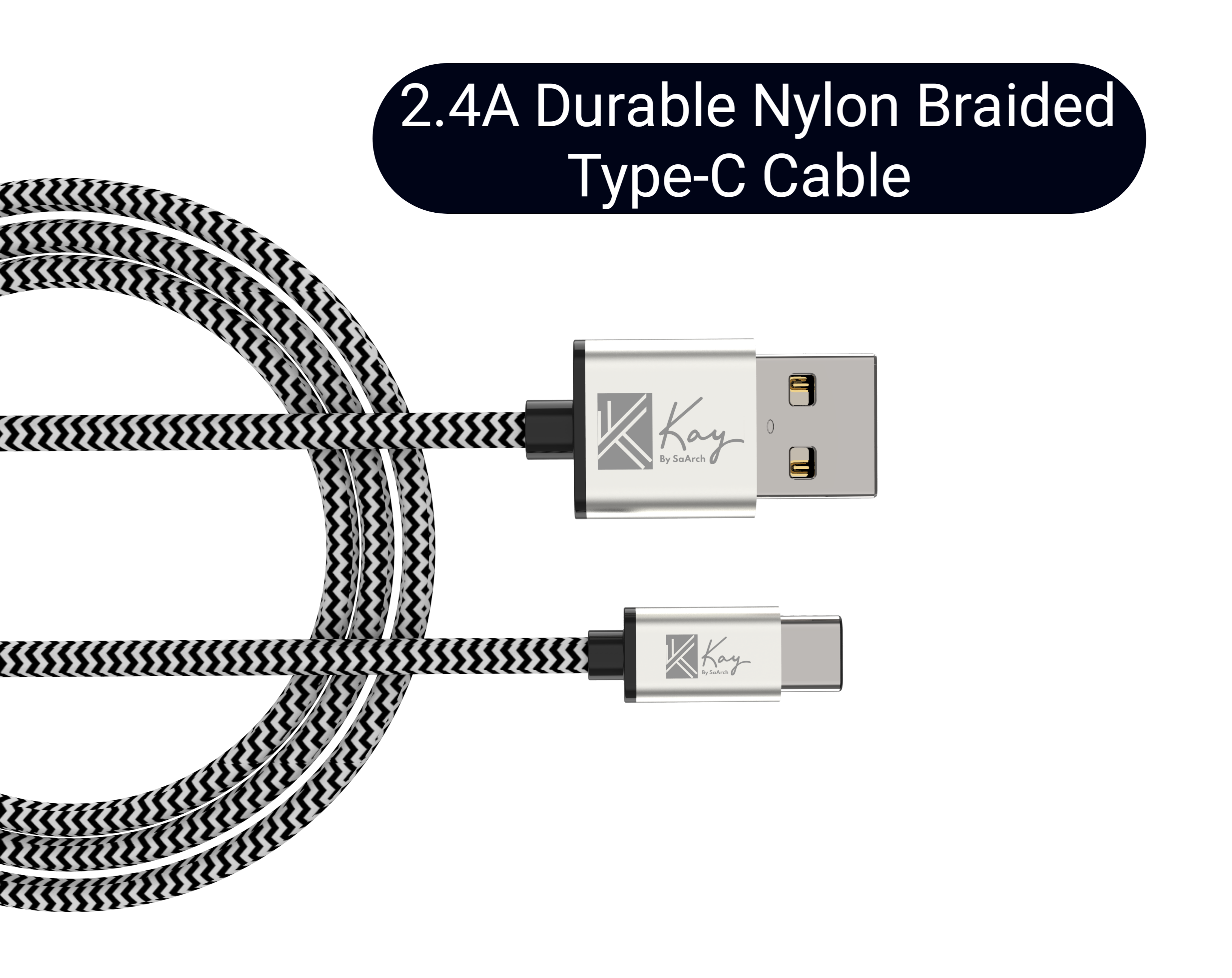 Kay By SaArch Type C Charger Cable Fast Charging Data Sync Nylon Braided USB Cable for all USB C android Mobile Phones