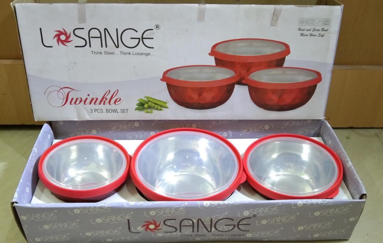 OSM ENTERPRISES Transparent Plastic Coated Microwave Safe Stainless Steel Bowl  Set of 3  16 cm