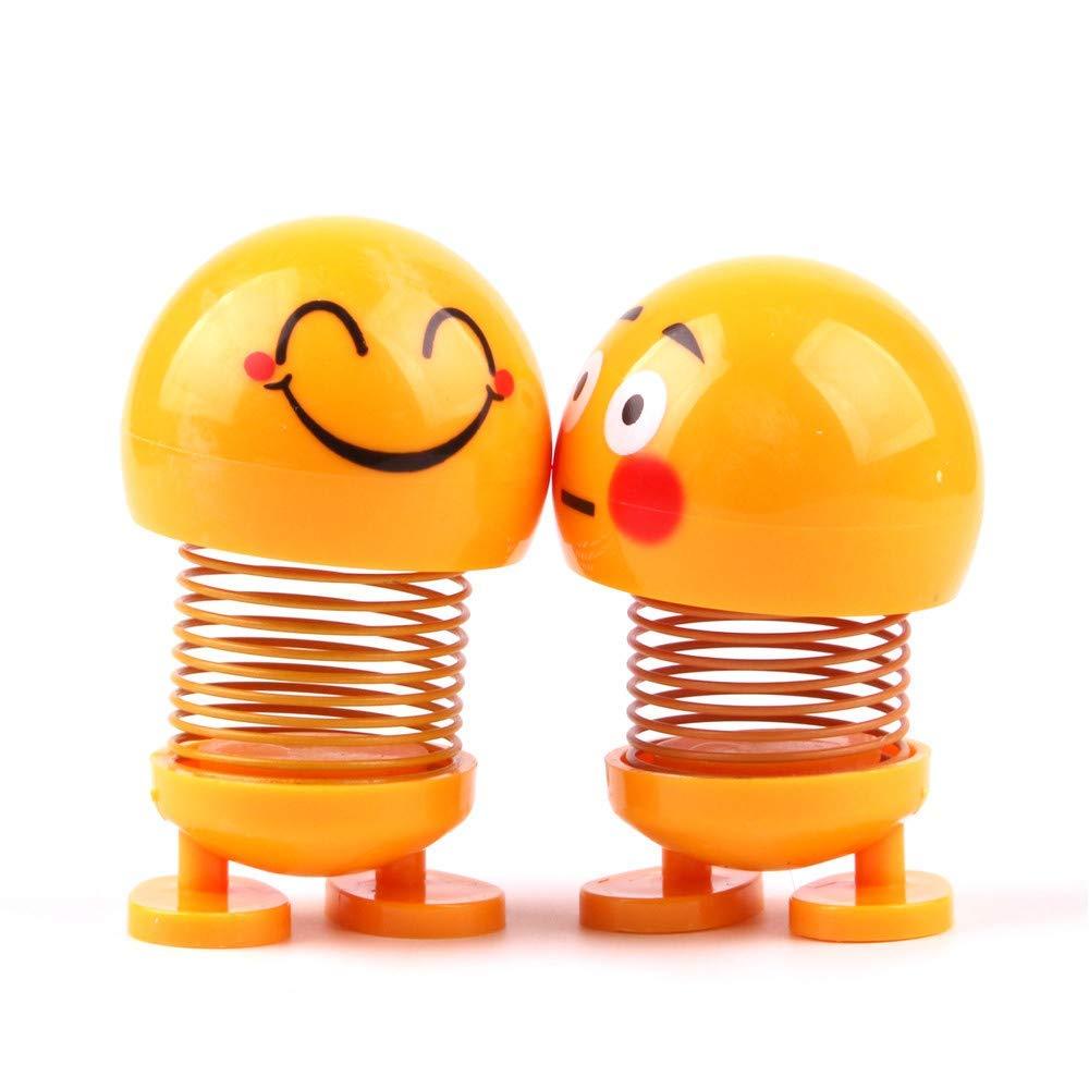 Lazywindow Smiley Spring Doll, Cute Emoji Bobble Head Funny Car Dashboard Toys  Set of 2