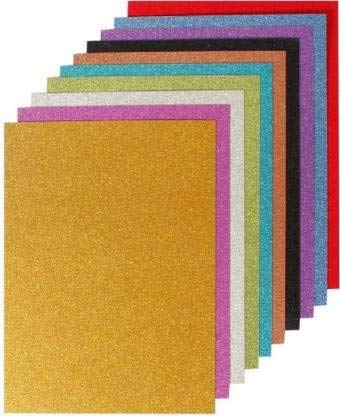 Uc collection EVA Foam A4 Size Glitter Sheets for Arts and Crafts, Scrapbooking, Paper Decorations  Multicolour, 10 Pcs