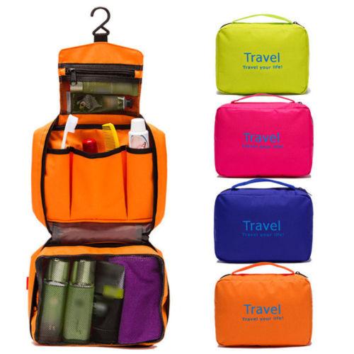 Unique Cartz Waterproof Women Toiletry Cosmetic Makeup Storage Bag Travel Casual Hanging Bag Organizer  Random color
