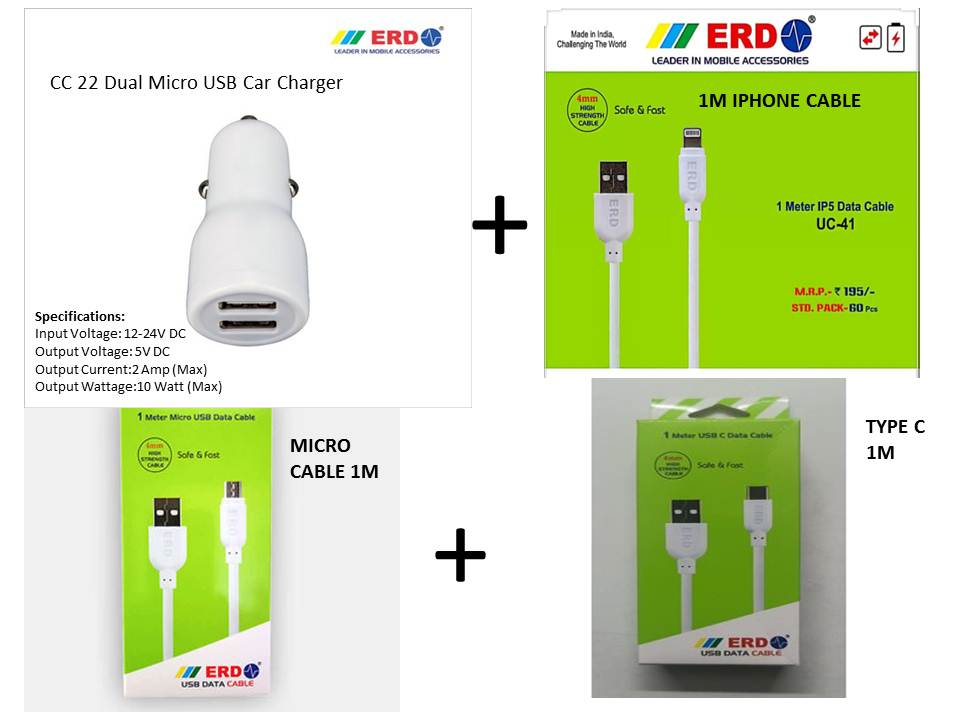 ERD CAR CHARGER with Combo data cable pack for All mobile type 100 original ERD MICRO + TYPE C+ IP5 Cables