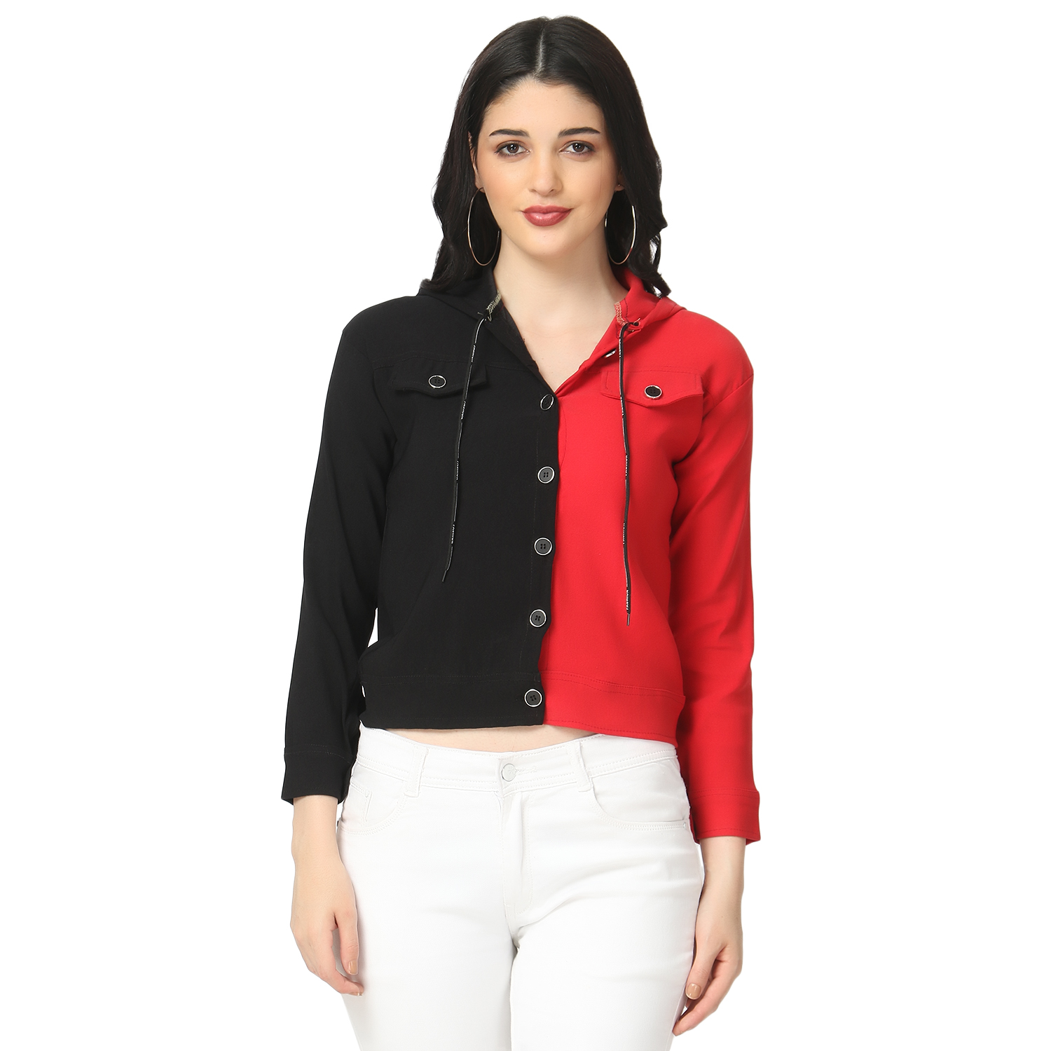 BuyNewTrend Cotton Lycra Black and Red Buttoned Jacket with Hoodie For Women
