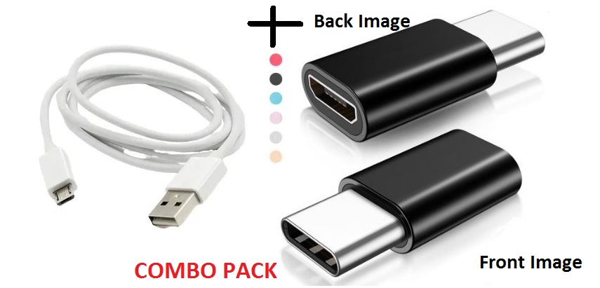 Metal Micro USB to C Type Convertor Adapter/Connector and Micro USB Data Cable Combo Pack