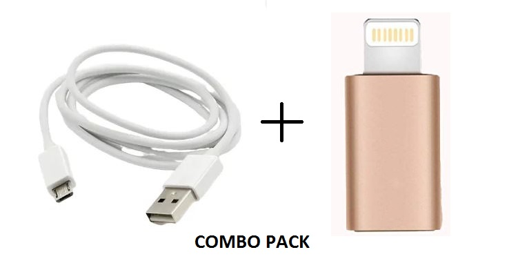 Metal Micro USB to Iphone Convertor Adapter/Connector and Micro USB Data Cable Combo Pack