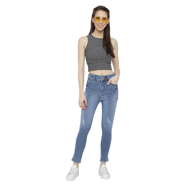 G GODS CLUB Woman Fashion Light Blue Ruff Look High waist Skinny Fit Jeans