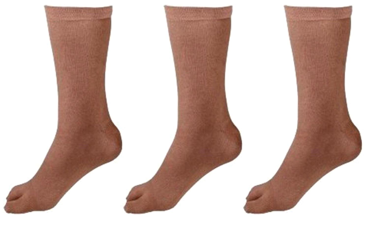 Fashionablecliq Women's Calf Length Skin Color Solid Thumb Cotton Socks Pack of 3