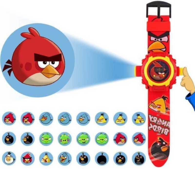 Angry Birds Projector Watch Automatic Digital Display Light 24 Images angry birds Wrist watch for Kids Boys girls toy