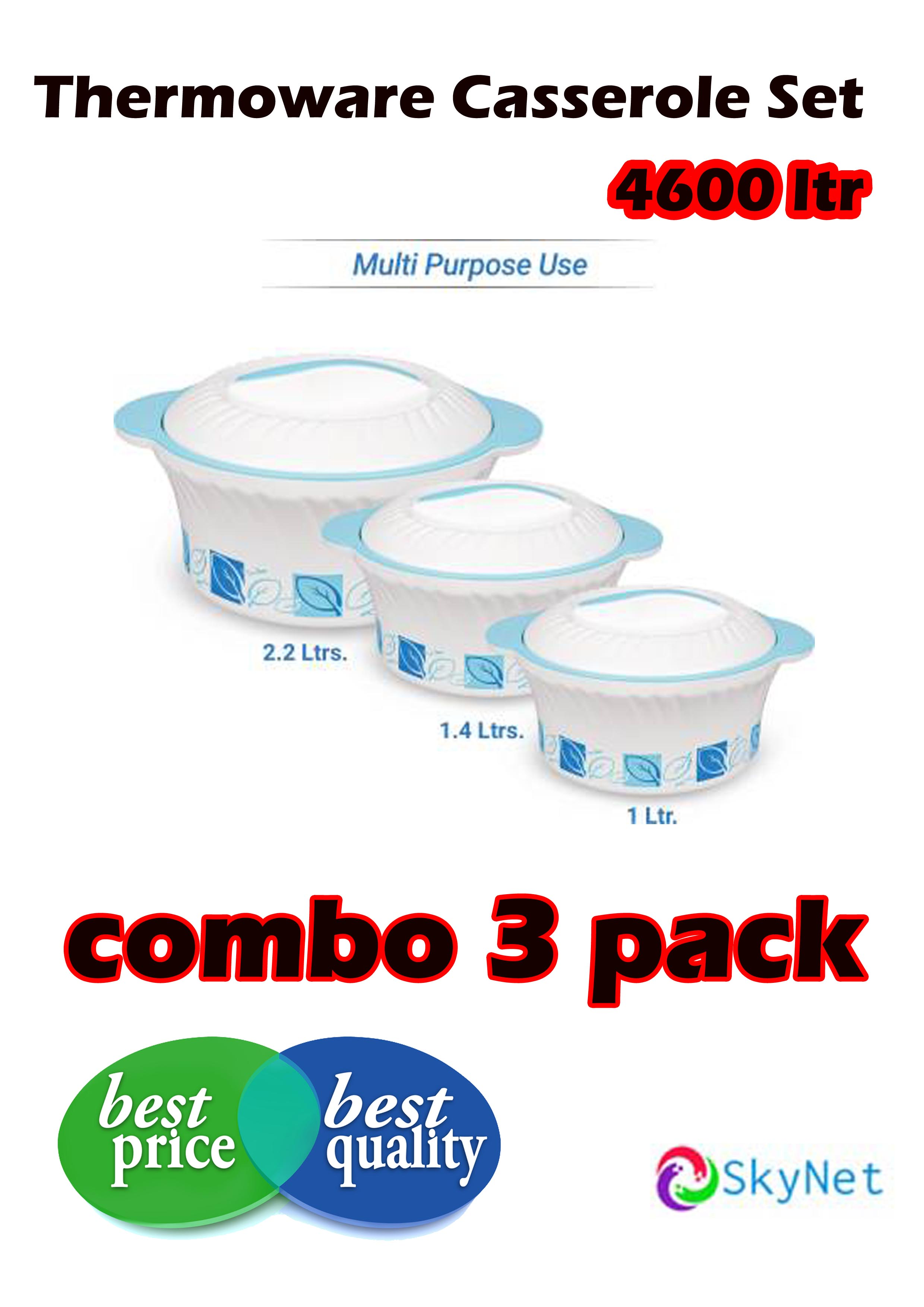 Designer Pack of 3 Thermoware Casserole Set  4600 ml  combo sale Gift pack