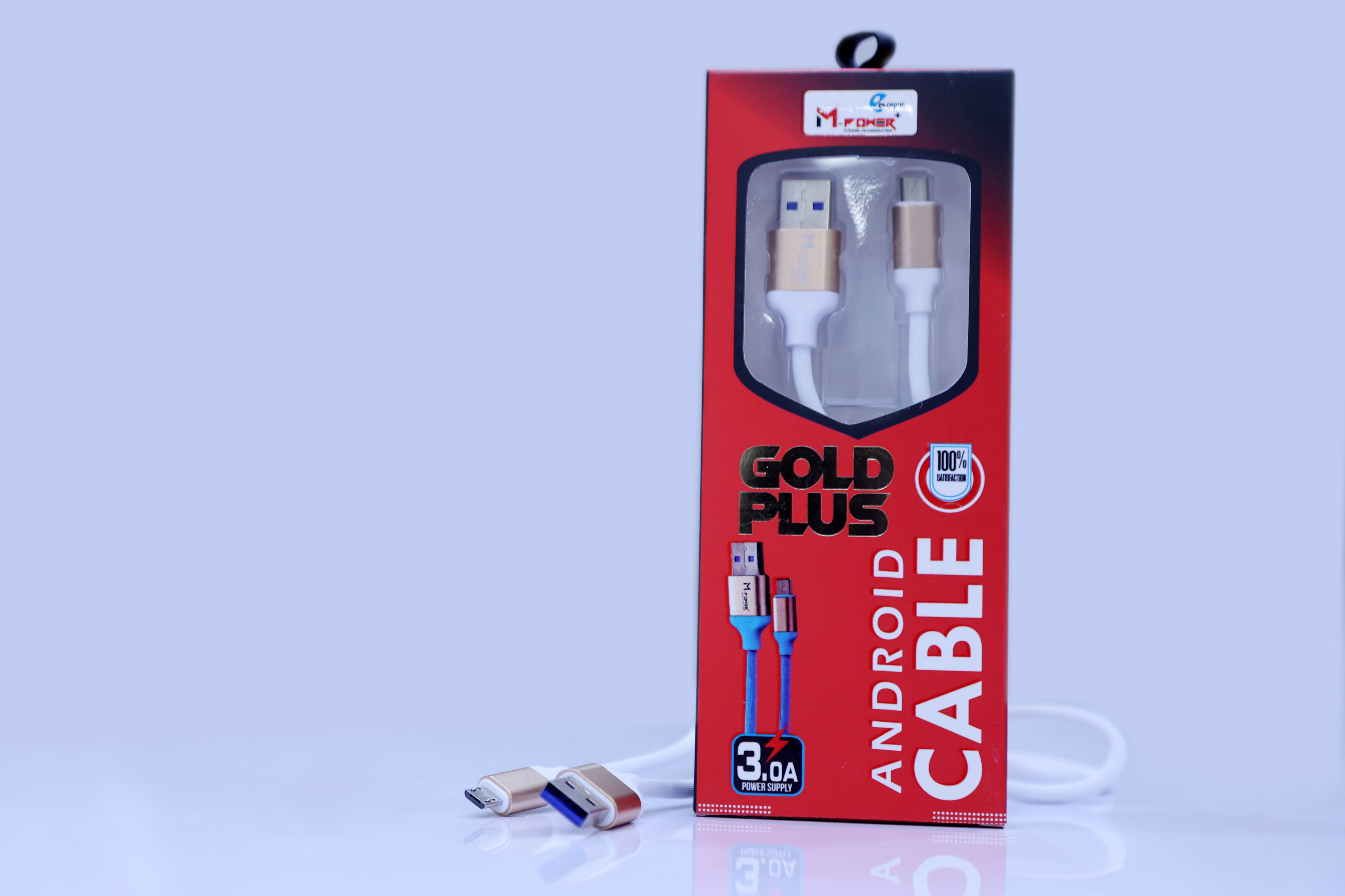 Mpower+ Android USB cable speed 1000MM Gold plus 3.0 AMP