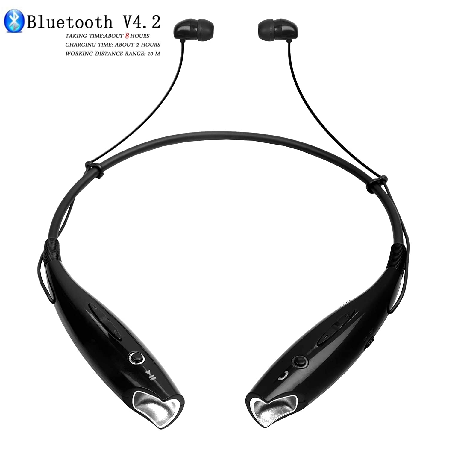 KHULJA HBS 730 Bluetooth Wireless Headphones Sport Stereo Headsets Hands Free with Microphone and Neckband for Android