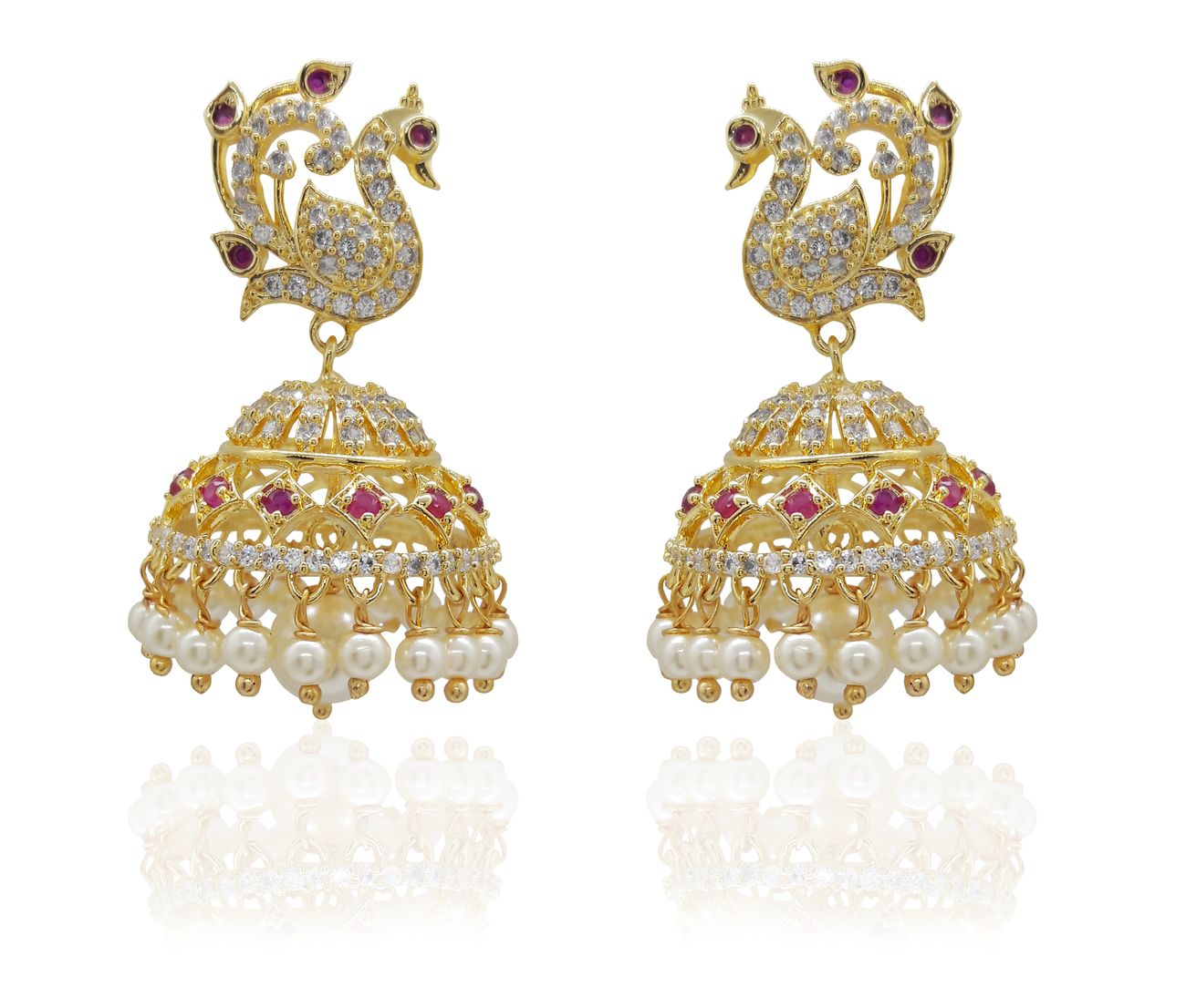 Mukutmoni Latest Design Gold Plated Traditional peacock Jhumka for Women Cubic Zirconia Alloy Jhumki Earring