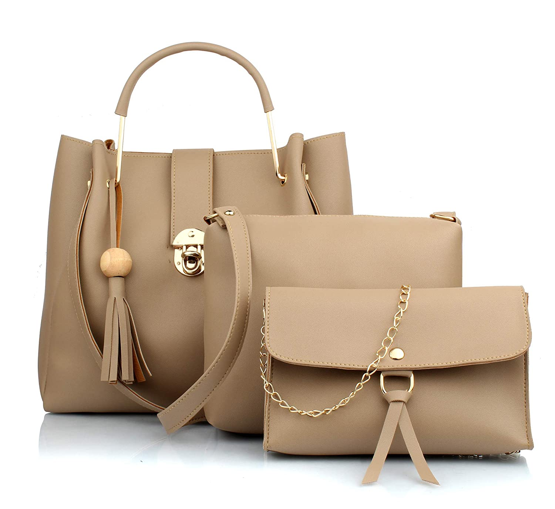 29K Women Cream Handbag With Solid Sling Bag   Wristlet Combo