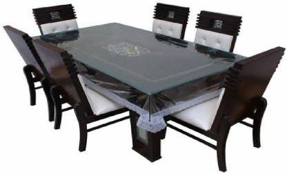 BANUCHI FASHIONS TABLE COVER WHF10 SILVER   6 Seater