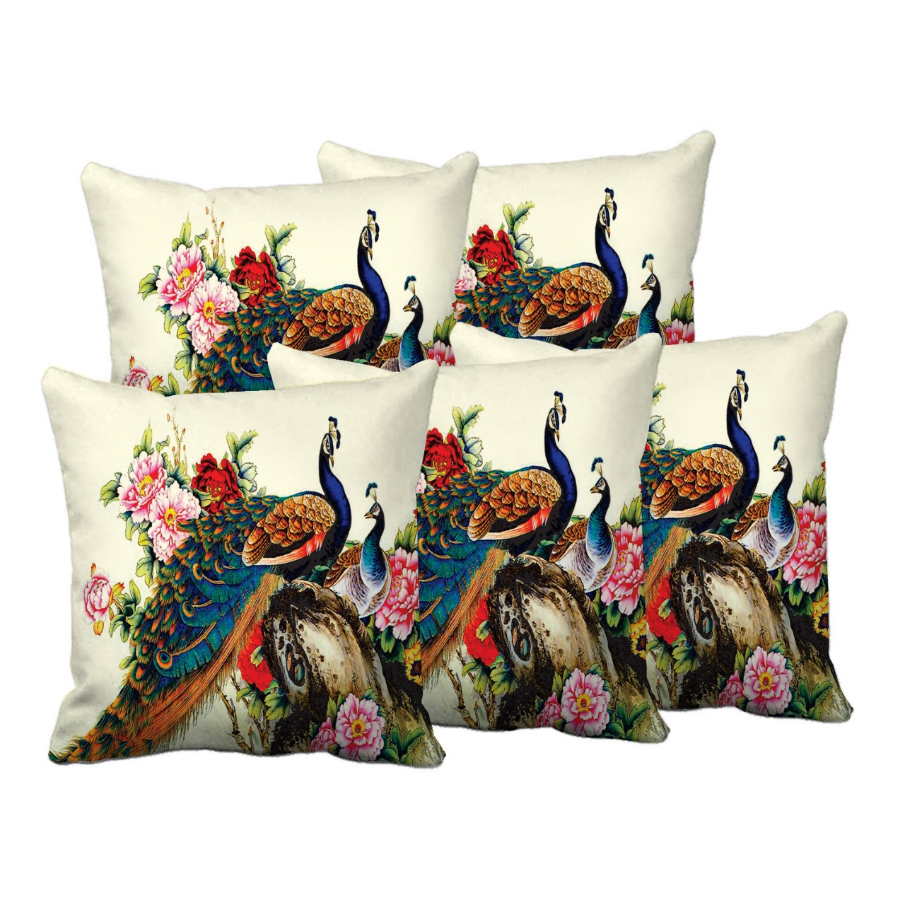 Delight Zone Digital Printed Jute Cushion Covers  Multicolour, Size 16 Inch x 16 Inch    Set of 5