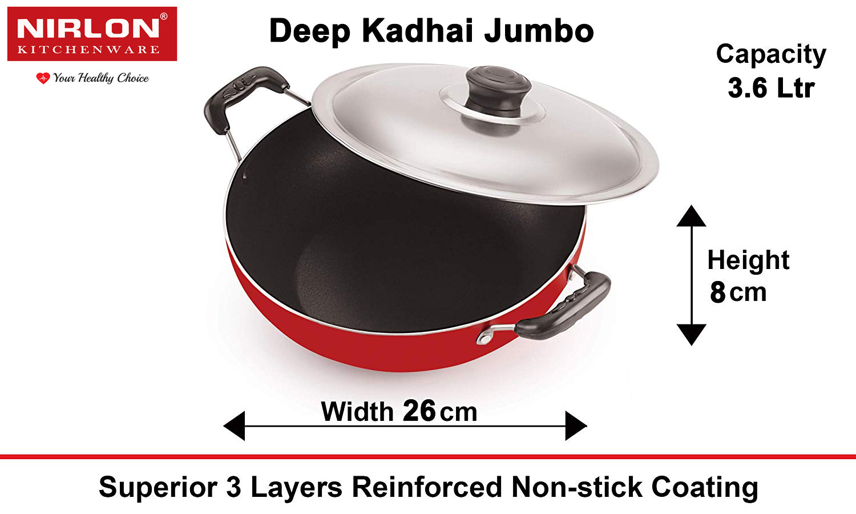 NIRLON Deep Kadhai with Lid Classic Range Non Stick Cookware Curry Pot, Red   Black  Aluminium