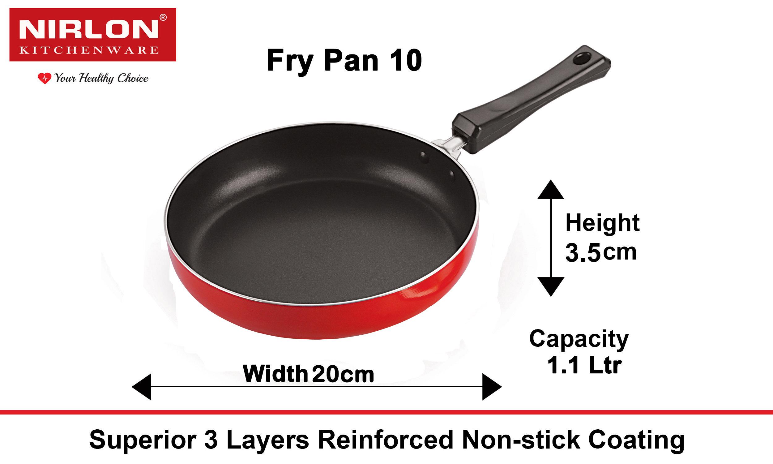Nirlon Aluminium Non Stick Fry Pan, 20 cm, Red and Black