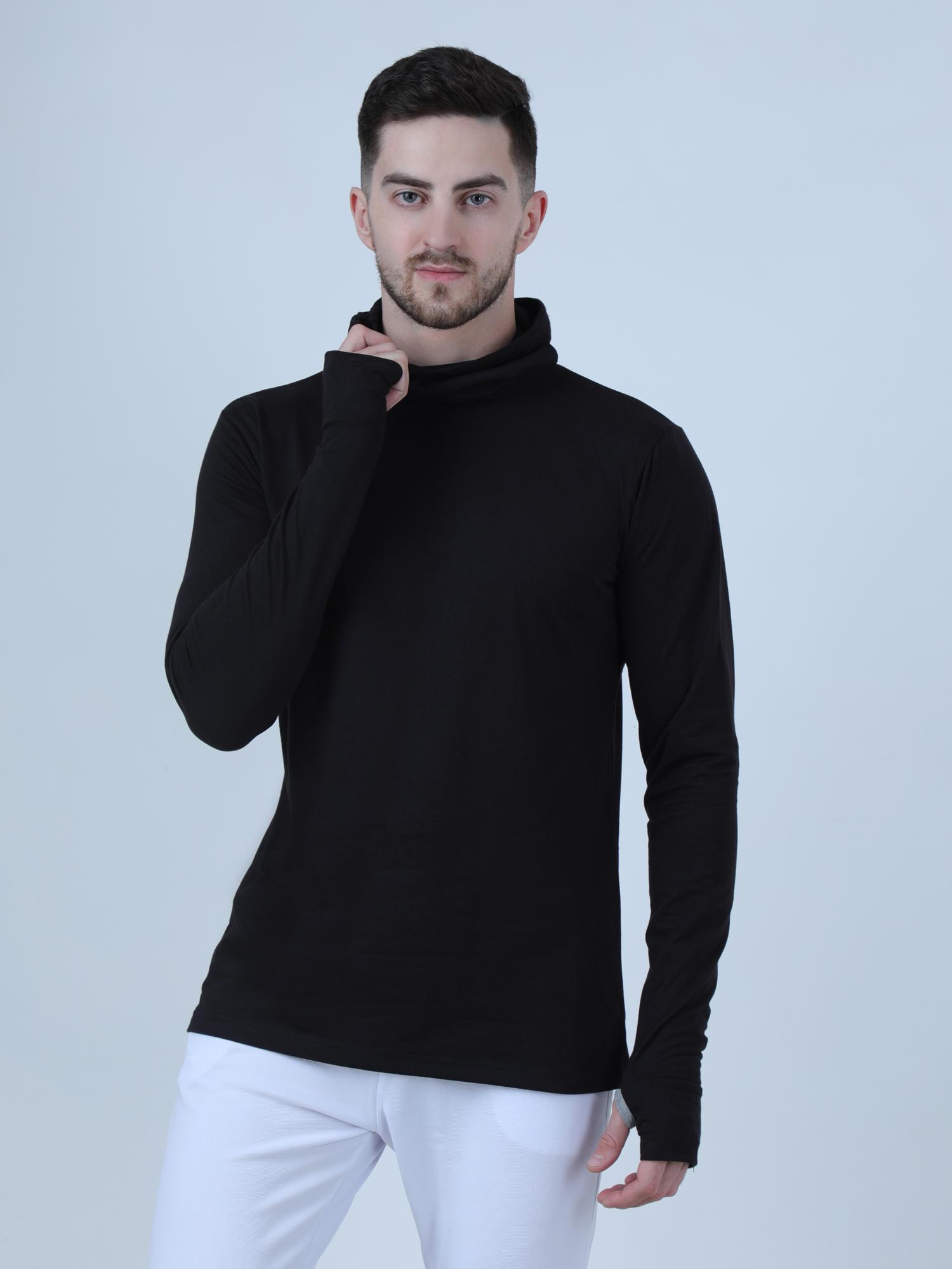PAUSE Black Solid Turtle Neck Slim Fit Full Sleeve Men's Mask T Shirt