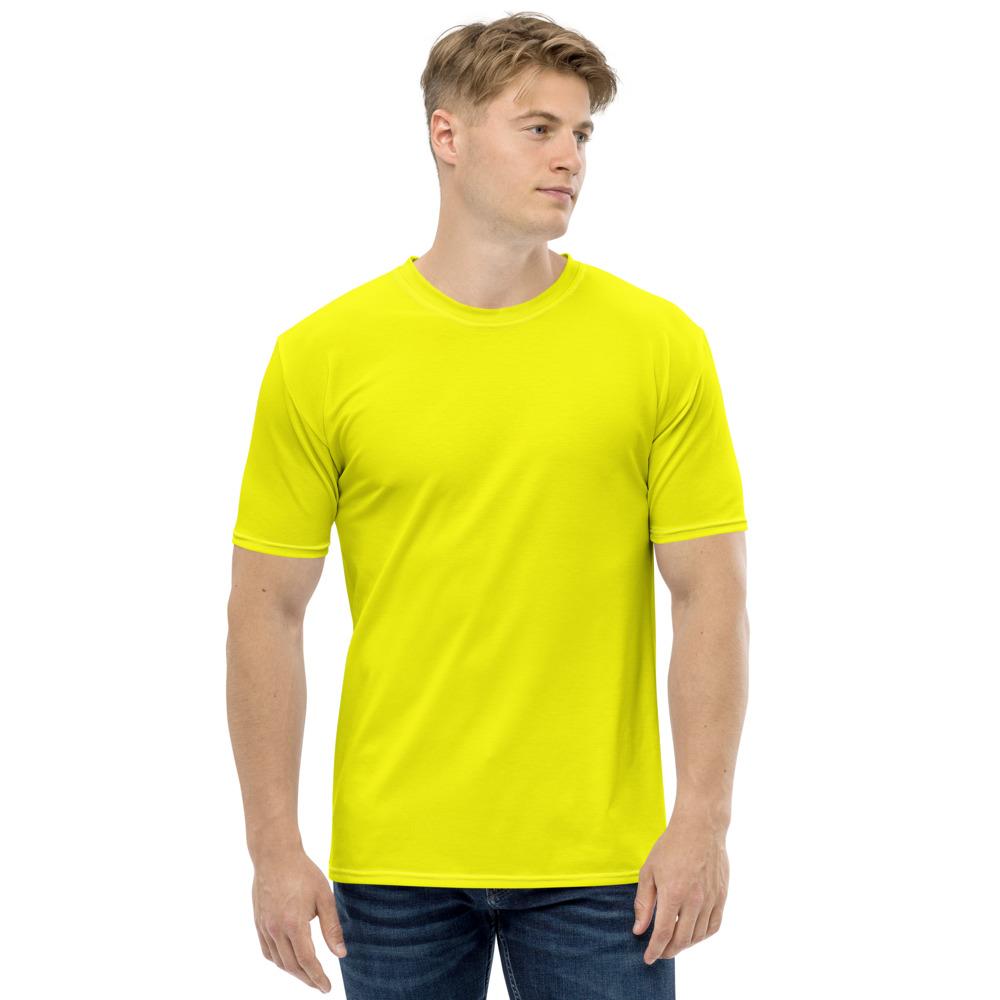 CLOTHINKHUB Men Yellow Solid Round Neck Polyester T Shirt