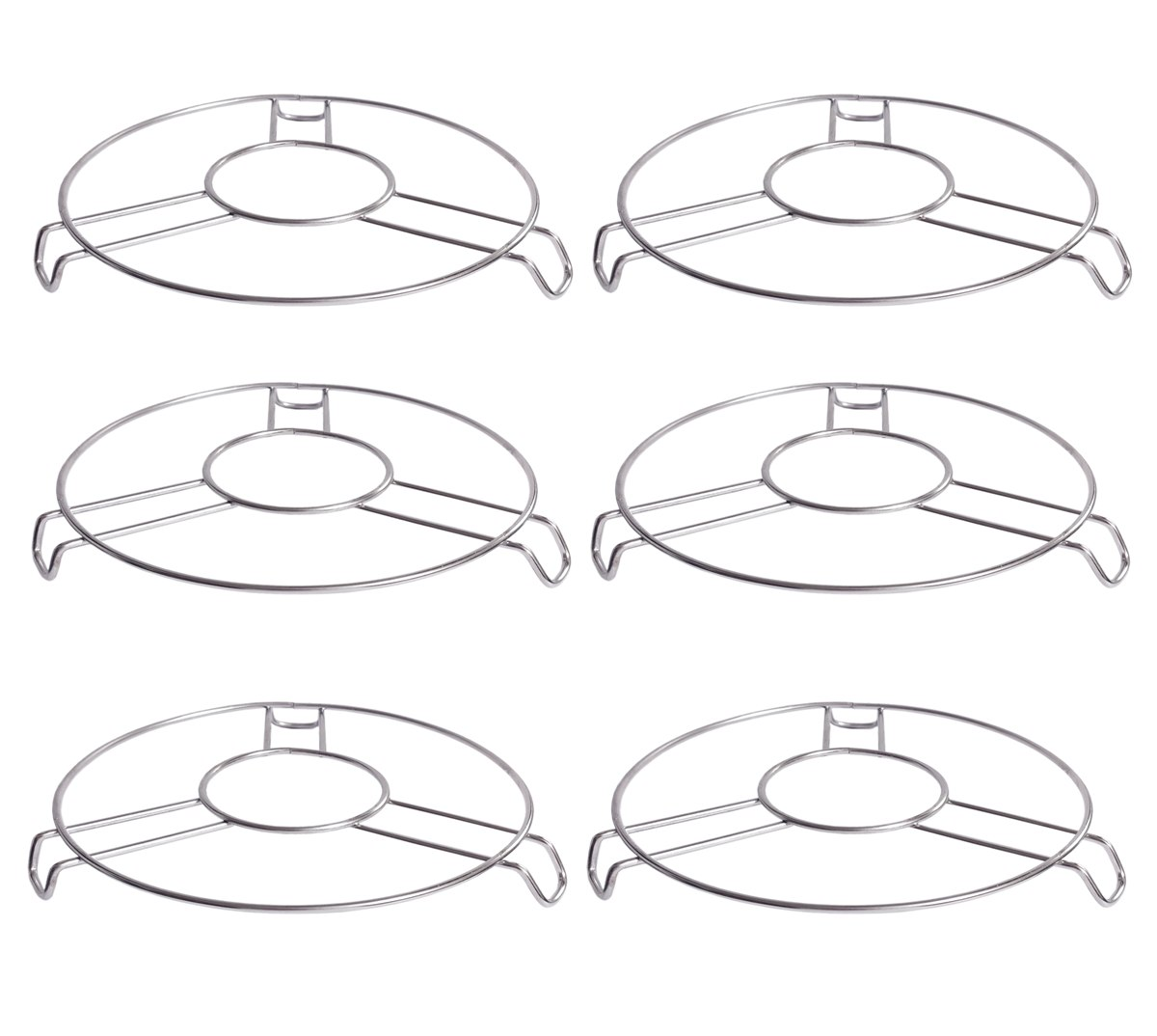 PRODUCTMINE Stainless Steel Heat Resistant BIG Size Hot Pan / Pot Stand Cooker Jali ,Table Ring DIAMETER 17 CM  6 Pc