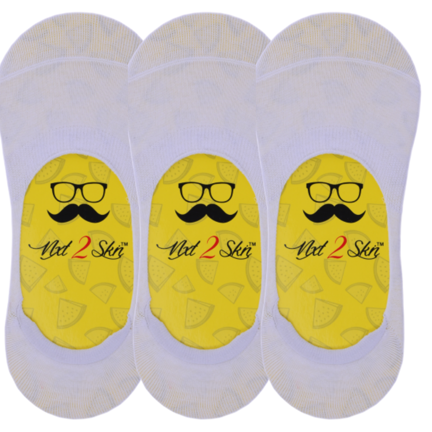 N2S NEXT2SKIN Men's Cotton Hidden Loafer No Show Invisible Socks with Anti Slip Silicon   Pack of 3 Pairs  White