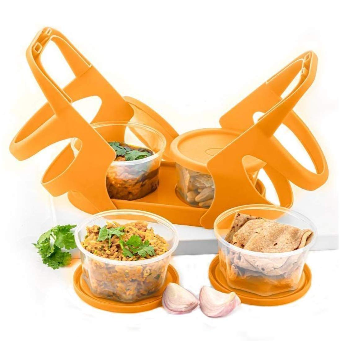 Lazywindow Lunch/Tiffin Box with Attractive Stand and Food Containers, 4 in 1 Lunch Box for School and Office