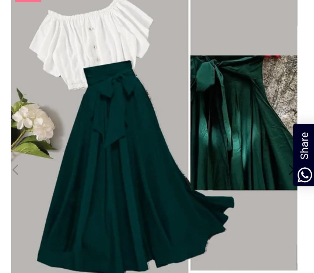 Westchick Women Self Design Green Skirt   White Top Combo