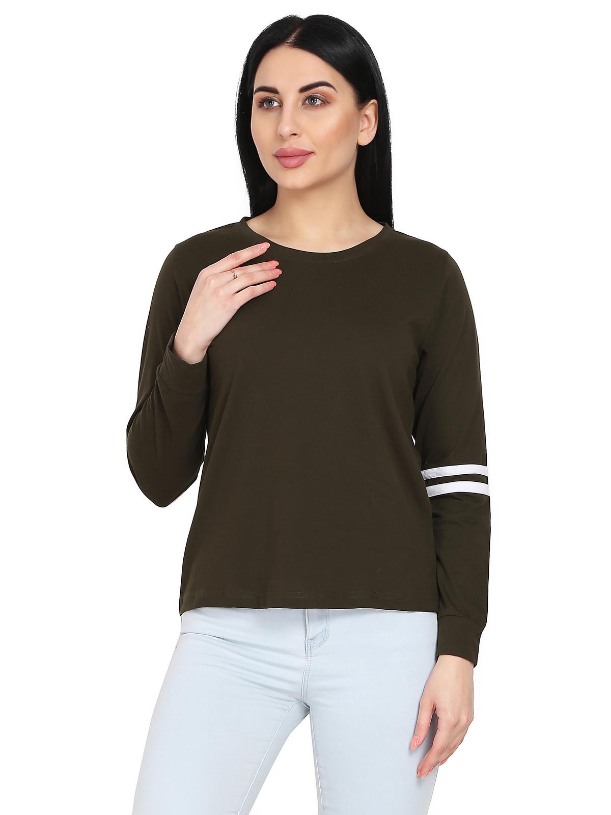Shanvi Solid Women Round Neck Green T Shirt