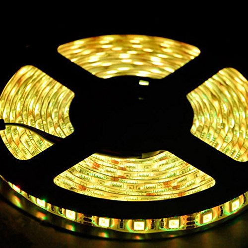 12V Flexible LED Strip Lights, LED Tape, Warm White, IP65 Waterproof, 300 Units 3528 LEDs, Light Strips, 5 Meters  16.4 Feet