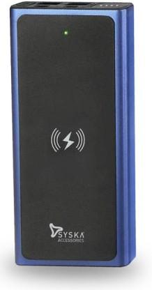 Syska WBP1002 10000 mAh Wireless Power Bank  Fast Charging, 10 W  Blue, Black, Lithium Polymer