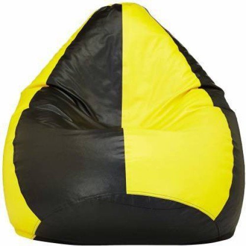 Home Berry Large Tear Drop Bean Bag Cover  Without Beans   Yellow, Black