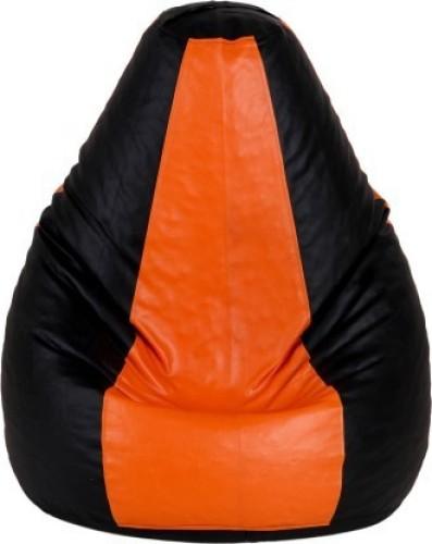 Home Berry XL Tear Drop Bean Bag Cover Without Beans   Orange, Black
