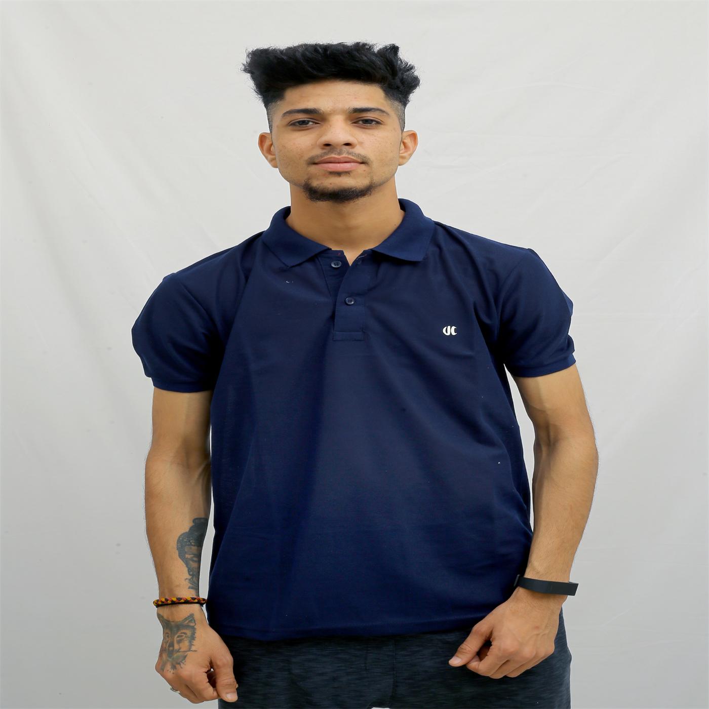 Urban Hero Solid Navy Blue Men Polo Neck T Shirt