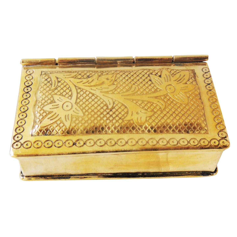 Antique Metal Pan Dan/ Pan Dibbi, Betel Box  Gold3.1x2.5x1 inch
