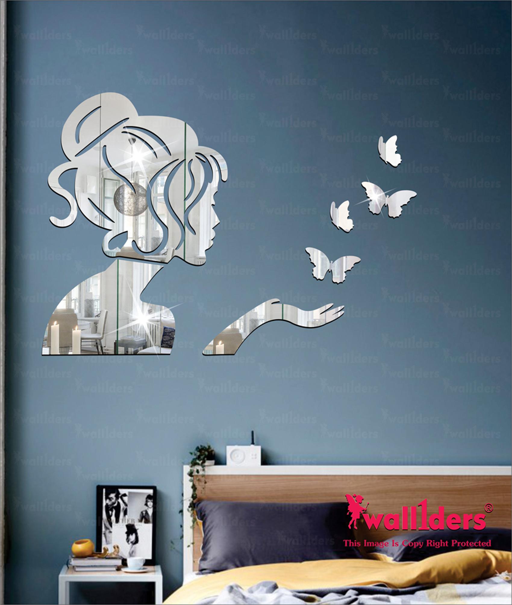Wall1ders Angel 4 Butterflies Silver 3D Acrylic Stickers, 3D Acrylic Mirror Wall Stickers for Home Offices.