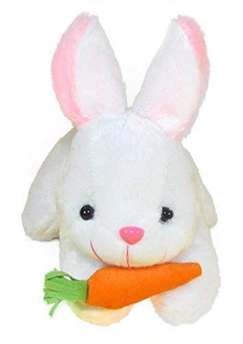HERRYQEAL Rabbit with Carrot Stuffed Soft Plush Toy, White  26 cm