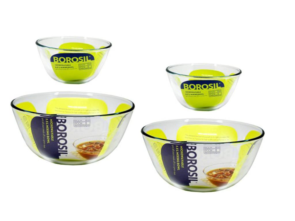 Borosil   Basics Glass Mixing Bowls   Set of 4  2 Bowls of 500ml + 2 Bowls of 900ml  Microwave Safe