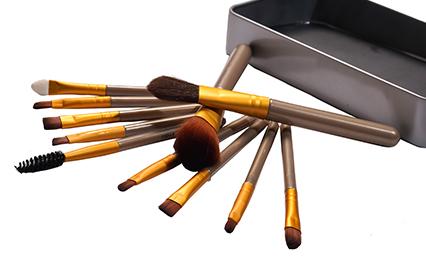 Dragon Crew Complete Makeup Brushes Set Kit  Set of 12 Brushes with Metal Storage Box
