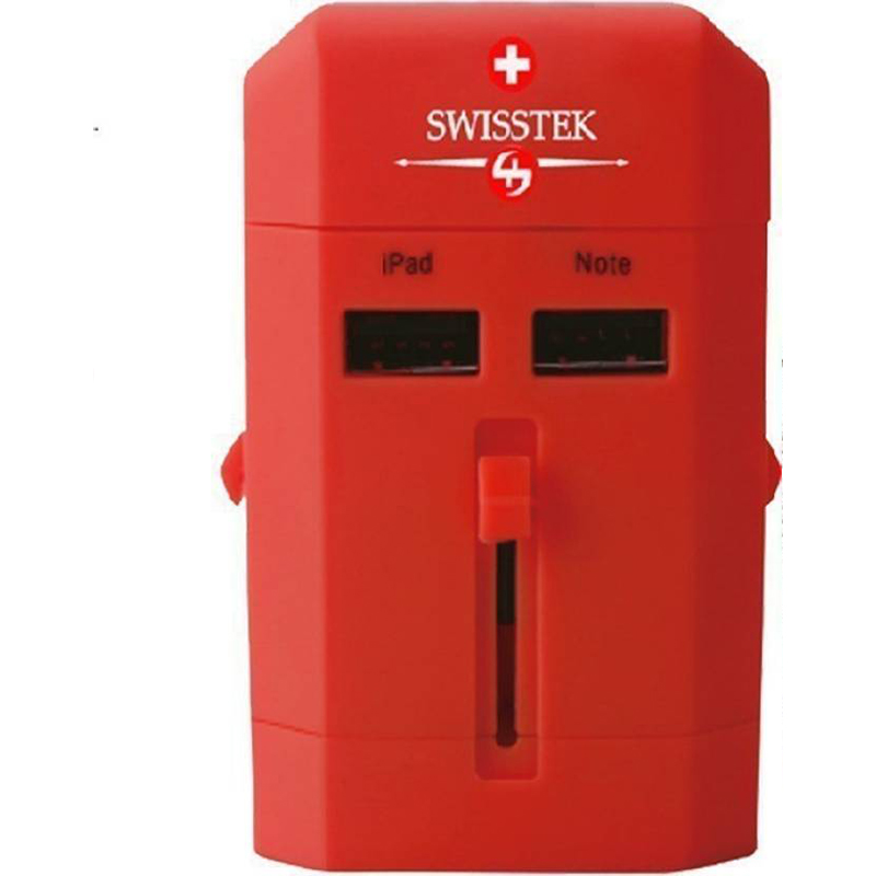 Swisstek Universal Travel Chargers with USB Ports Worldwide Adaptor  Red