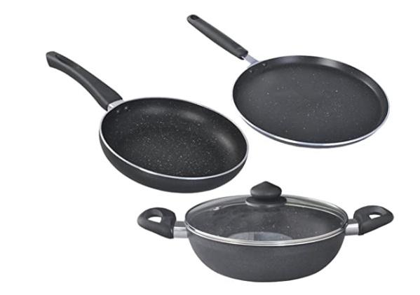 Prestige Deluxe Granite Non Stick 5 Layer Coating Cookware Set 3 Pcs