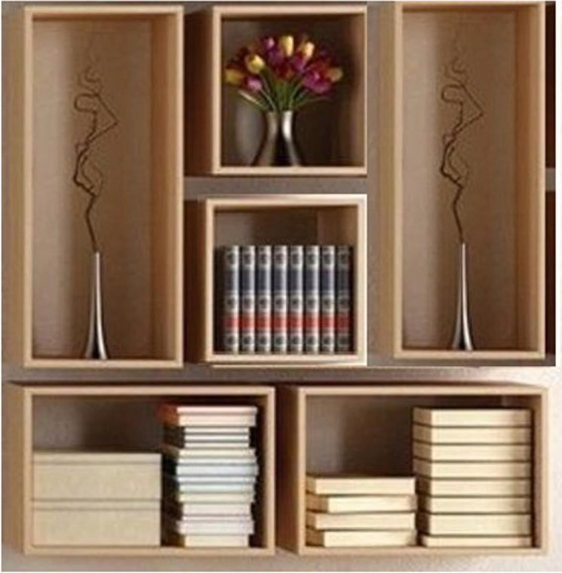 onlinecraft wooden wall book rack shelf  c2470  brown