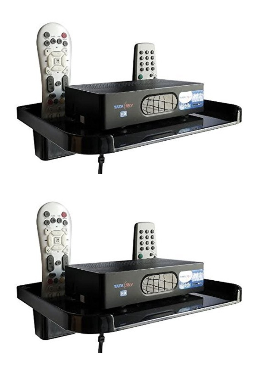 Joyway Set Top Box Stand With Remote Holder, Set Top Box Shelf Black    Pack of 2 Pieces