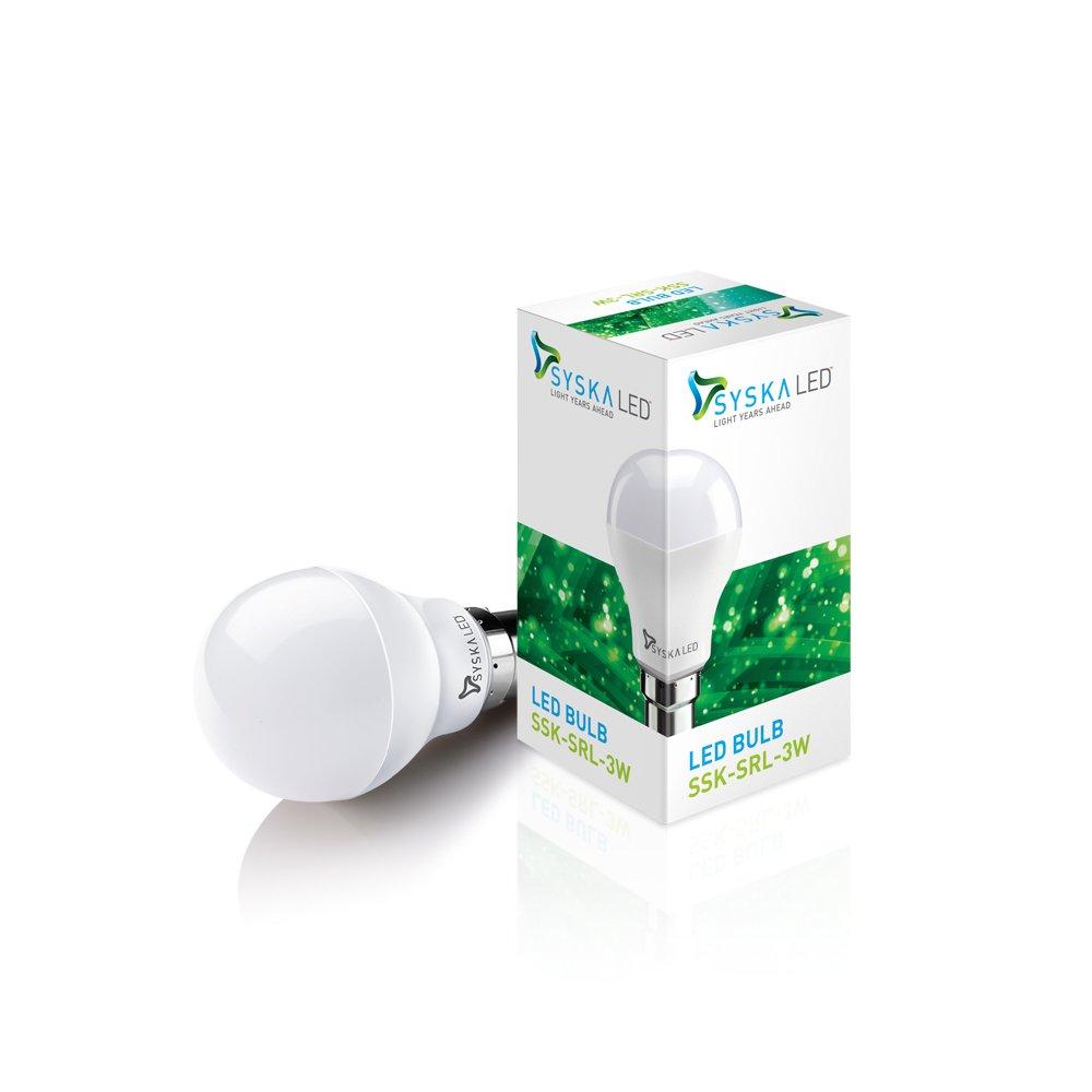 Syska SSK SRL 3W Base B22 3 Watt LED Bulb  Pack of 2 Cool Day Light