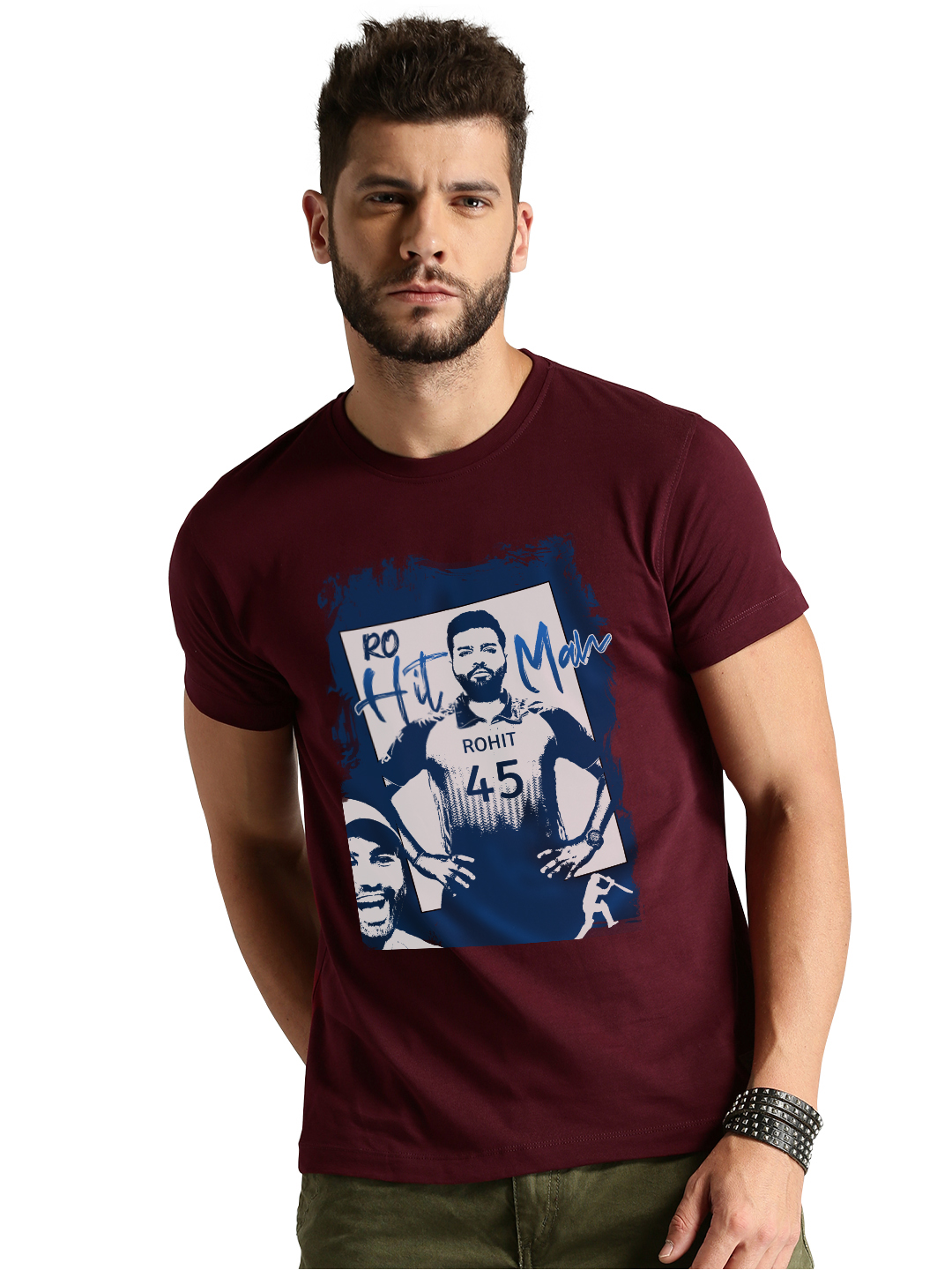 Dcrooz Rohit Printed Half Sleeve Maroon Round Neck T Shirts For Men